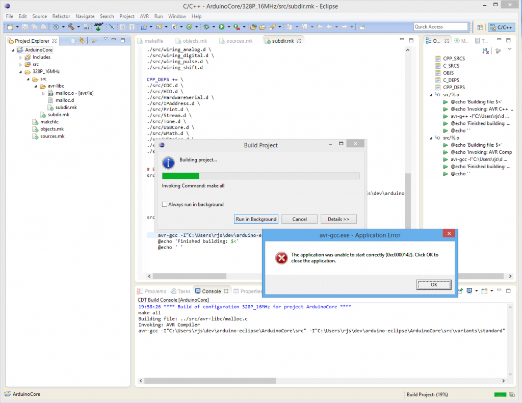 avr-gcc failing in Eclipse on Windows 8.1