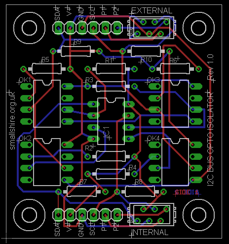 Eagle CAD design for an I2C optoisolator