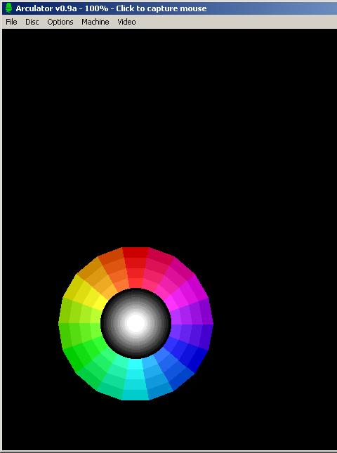 Colour wheel display in Arculator